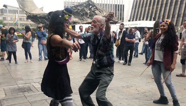 Random People dancing in the streets of Medellin Colombia