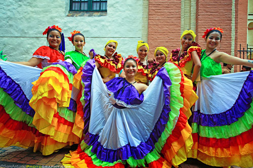 Colourful typical Colombian dancers